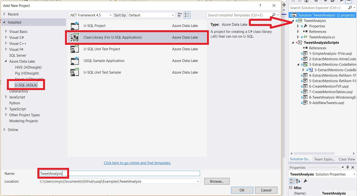 Creating a U-SQL C# code project