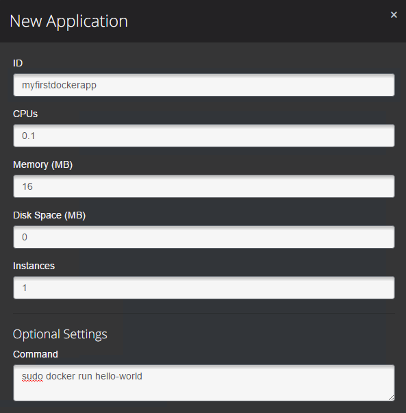 Image of setting up docker application in Marathon