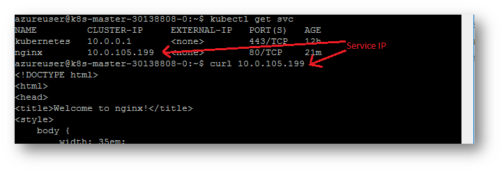 Image of curl to service IP