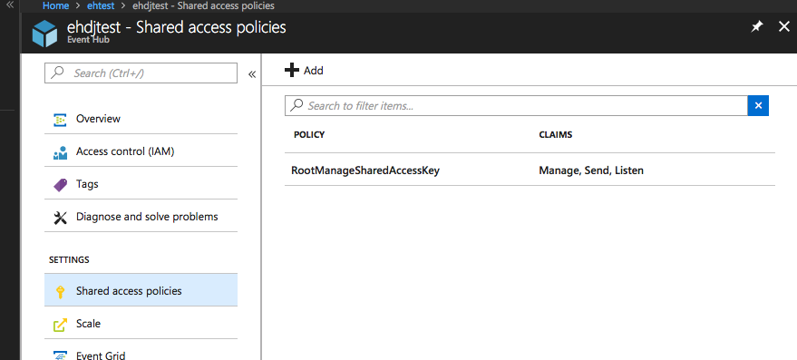 SAS policies in the Azure portal