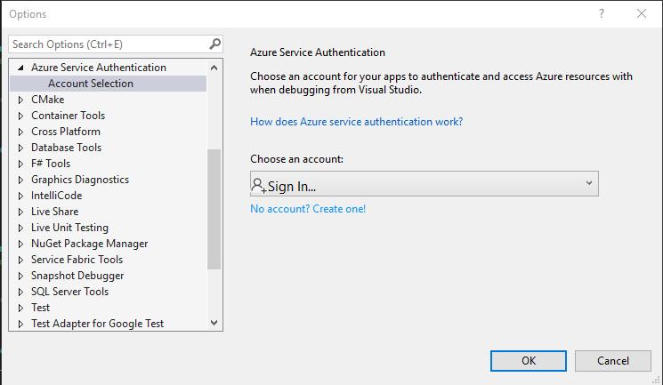 Visual Studio Account Selection