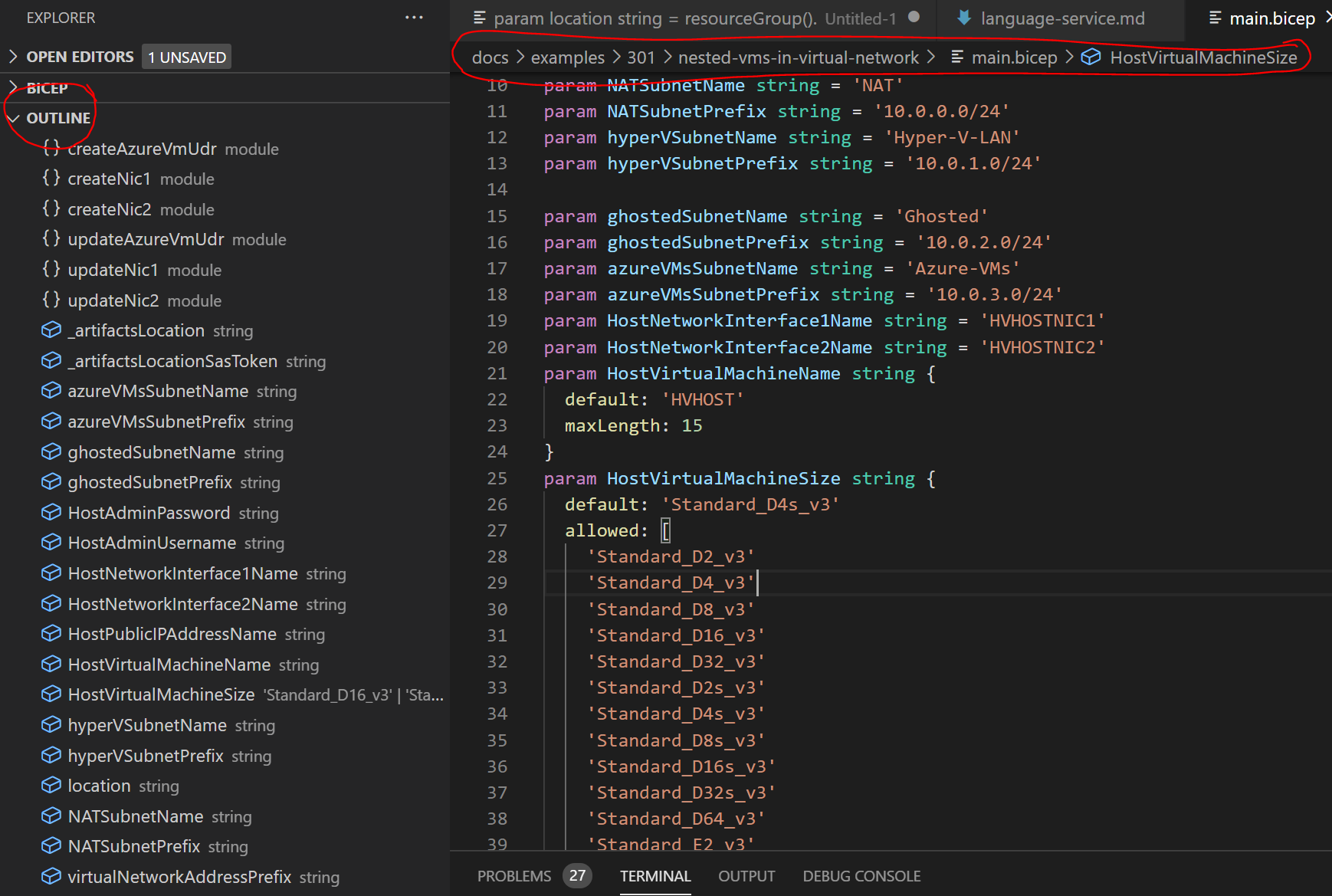 screenshot of vs code with the Outline panel and breadcrumb highlighted
