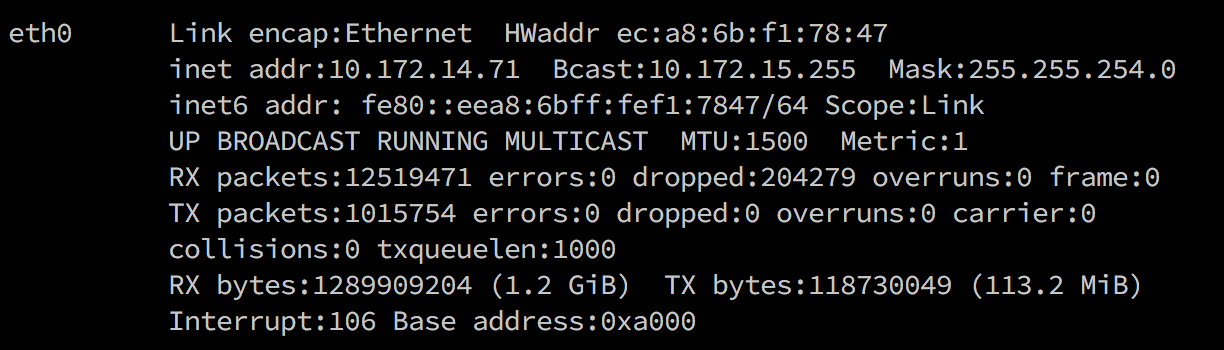 ifconfig output showing Intel NUC IP