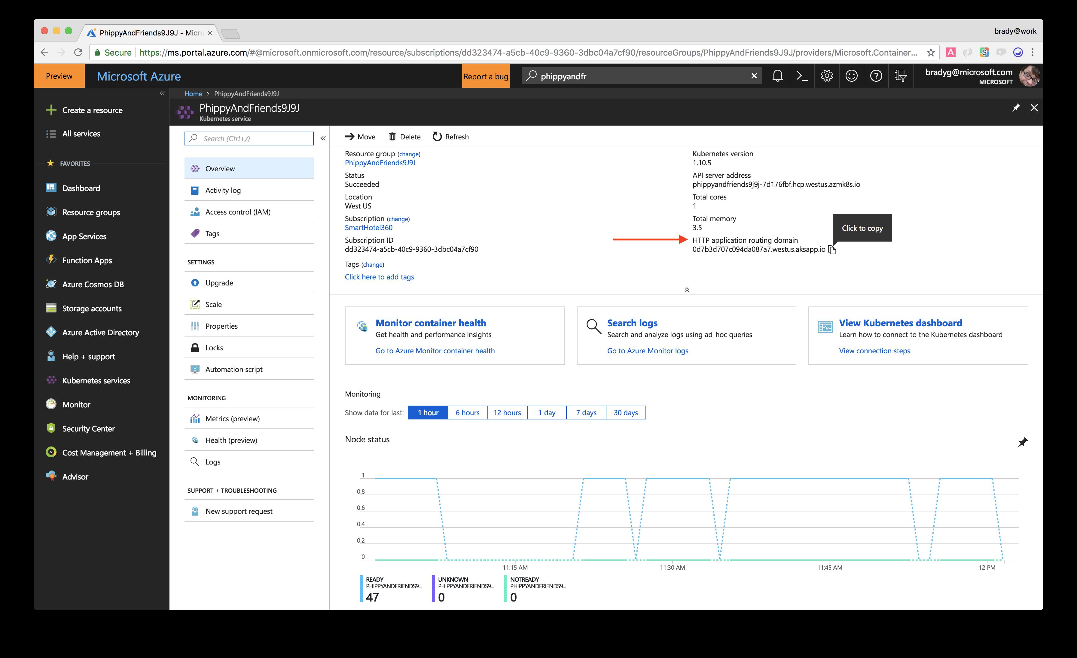 Get DNS via Portal