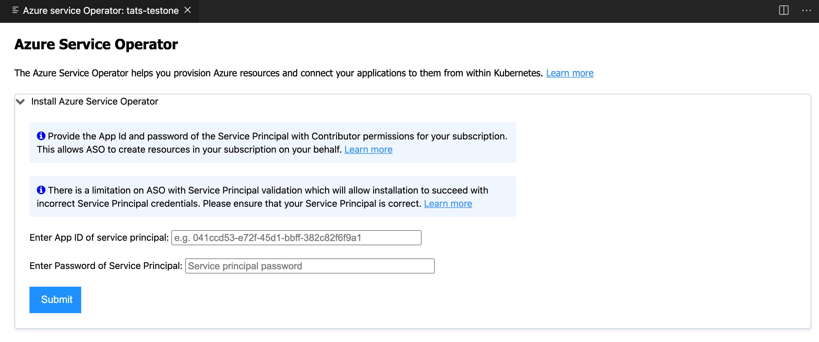 Azure Service Operator Webview