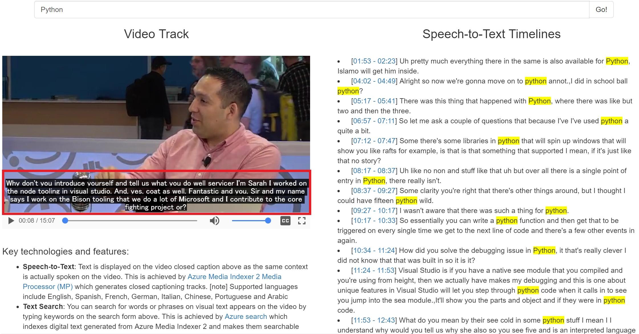 Screenshot Video STT Search