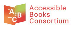 Accessible Books Consortium logo, an open book with A, B, and C in text and braille