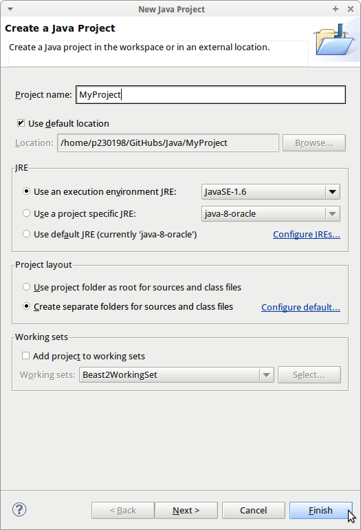 Create a Java project: MyProject