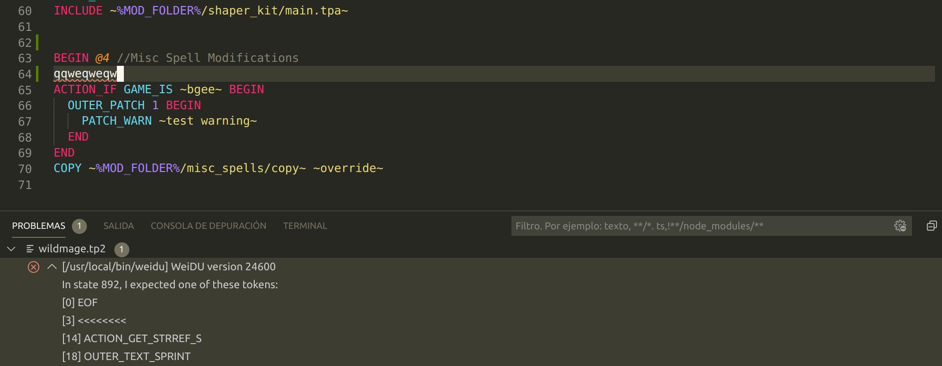 error reporting example