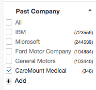 Past Company Filter Options