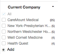 Current Company Filter Options