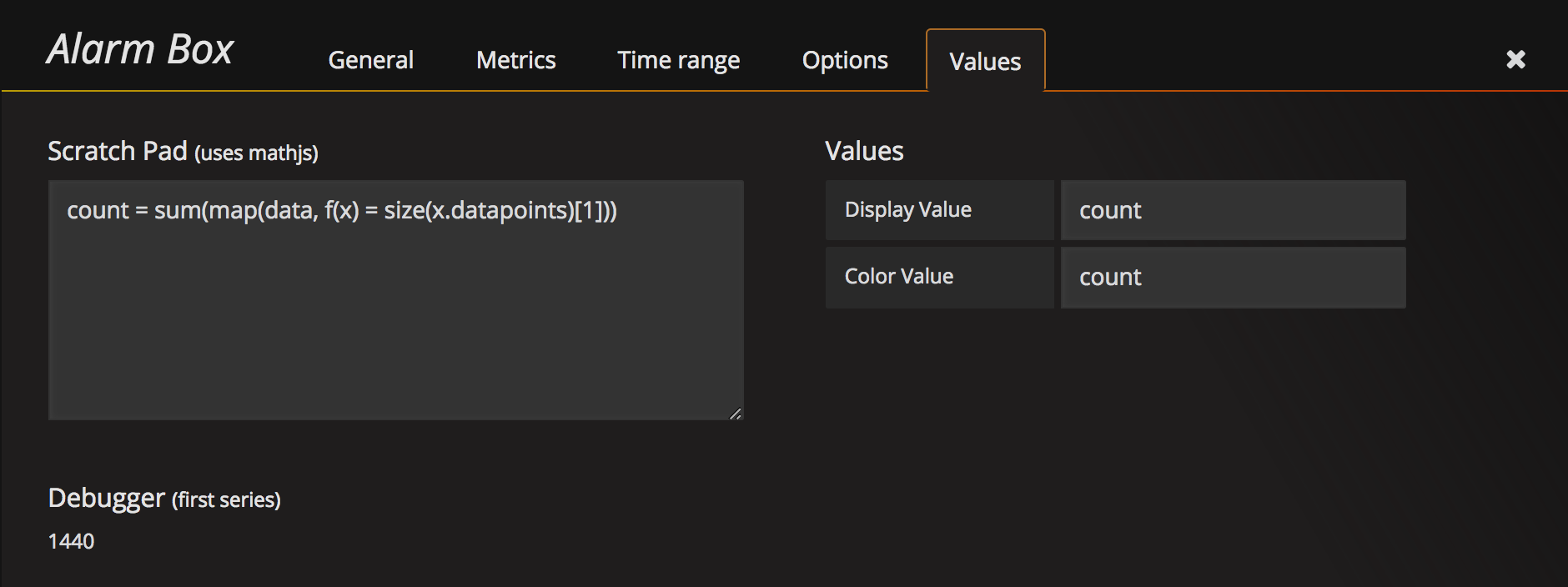 Alarm Box Values
