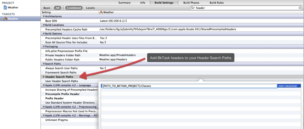 Add BkTask headers to your Header Search Paths