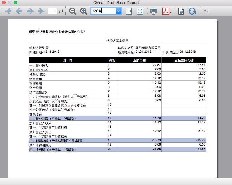 chinese balance and profit loss report banana accounting software