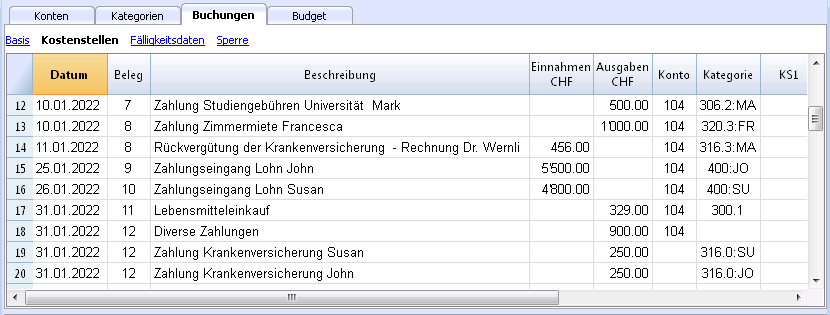 Familie Mit Budget Kassenbuch Banana Accounting Software
