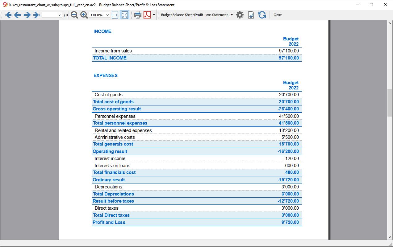profit loss budget year