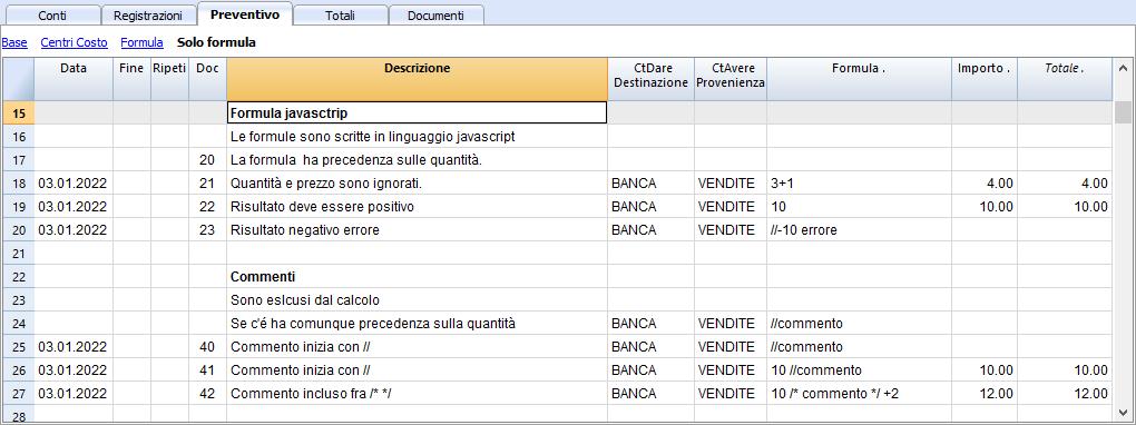 Tabella Budget con formule in Javascript