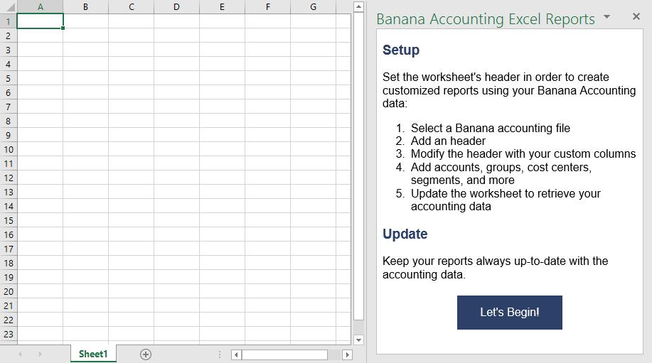 Documentation Excel Addin Banana Accounting Software. Banana Accounting Addin Start Screen. Worksheet. 10 Column Worksheet In Accounting Exle At Clickcart.co
