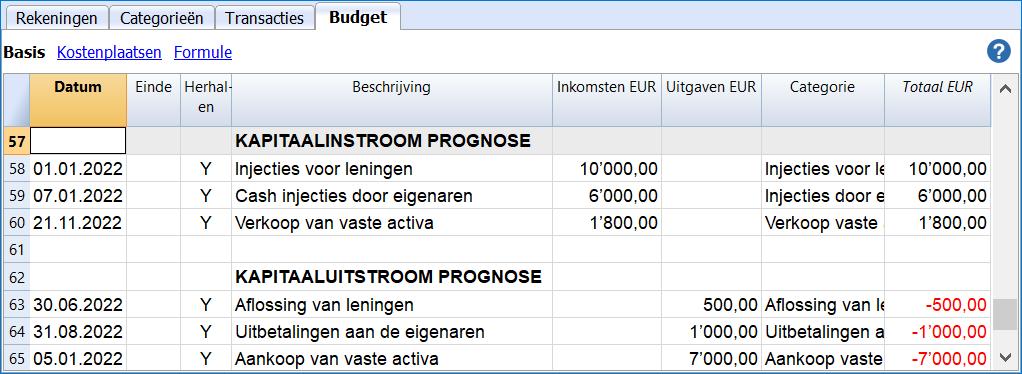cash flow budget capital