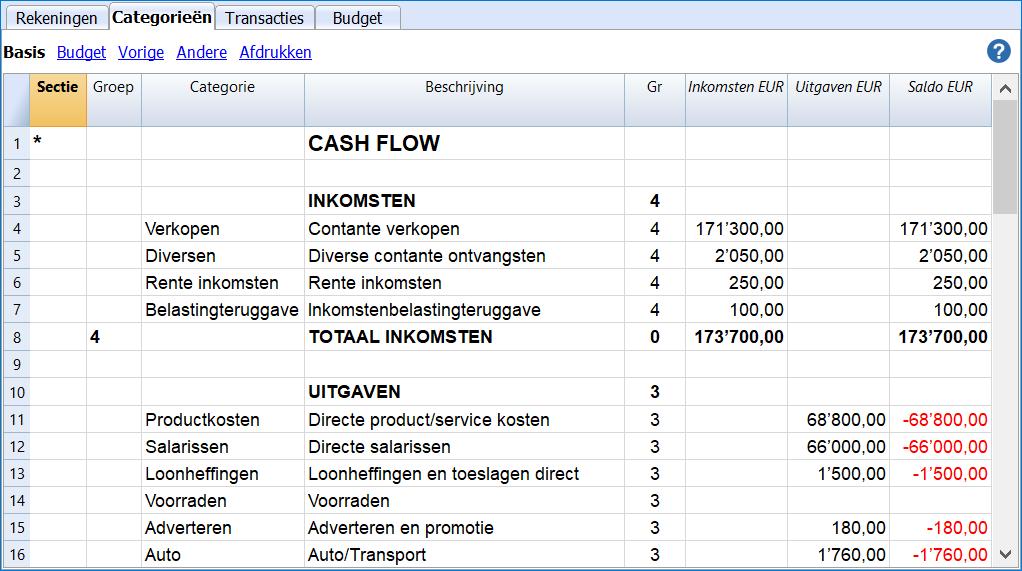 cash flow categories