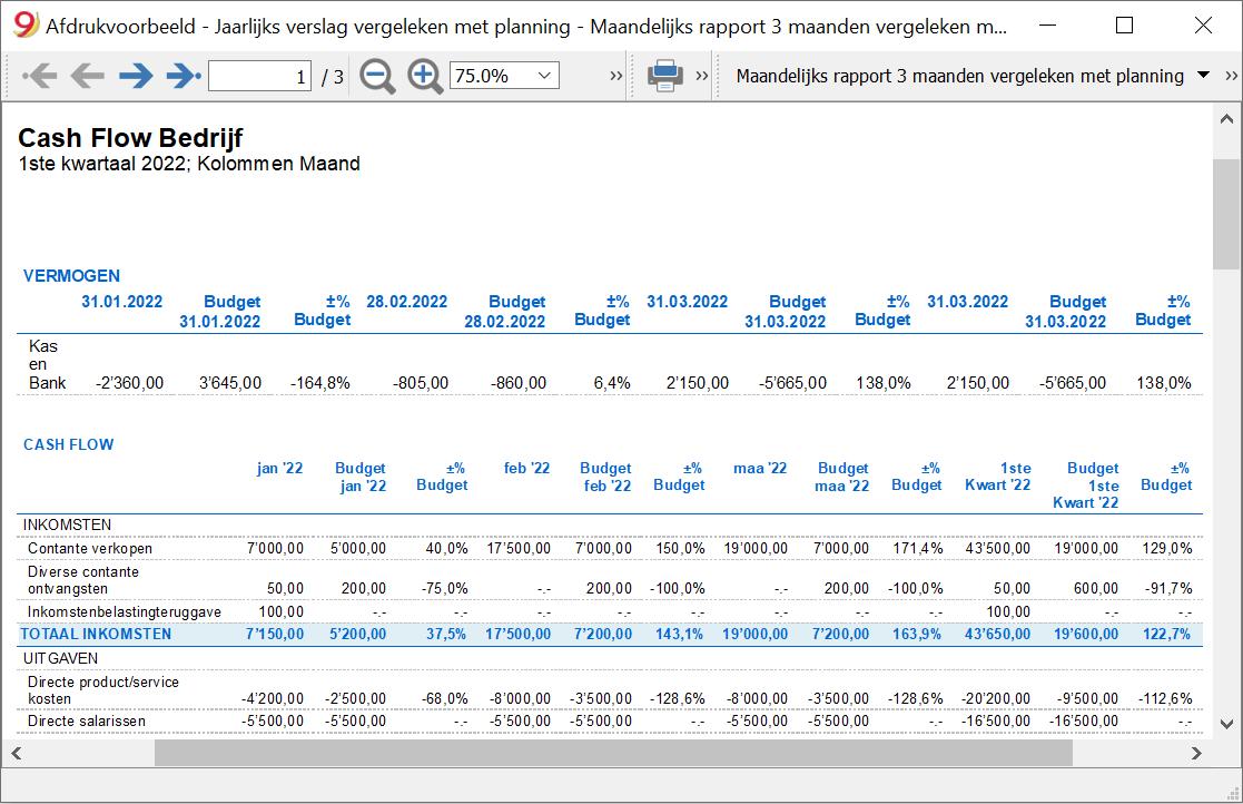 cash flow report 3months comparison