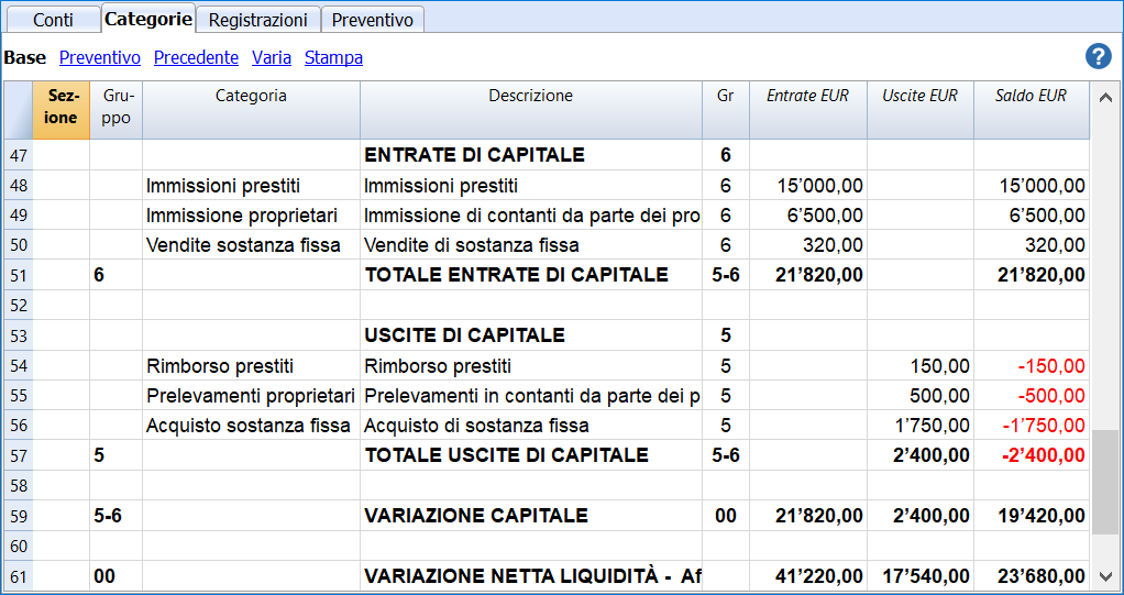 cash flow categorie capitale