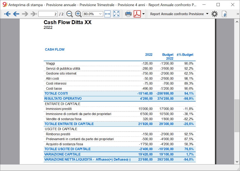 cash flow report confronto annuale