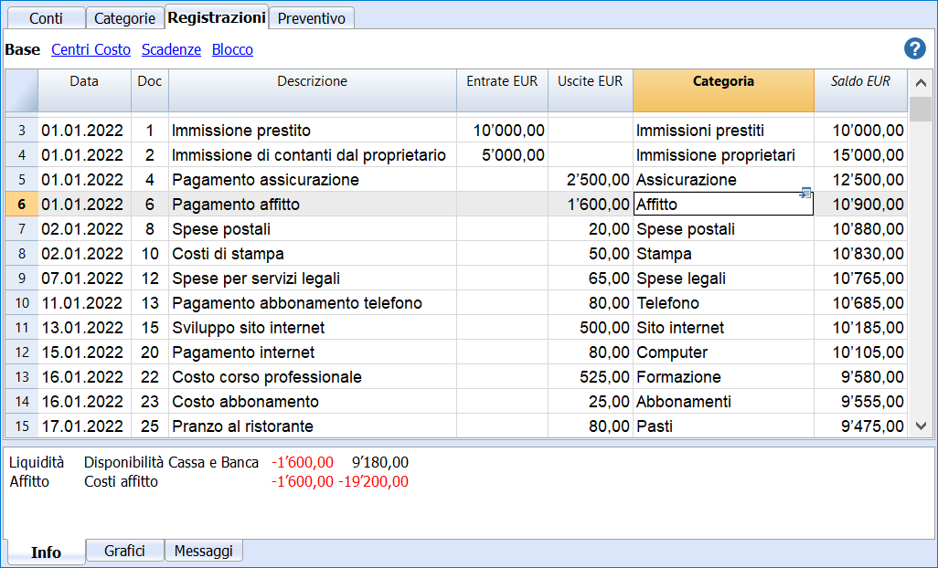 cash flow registrazioni