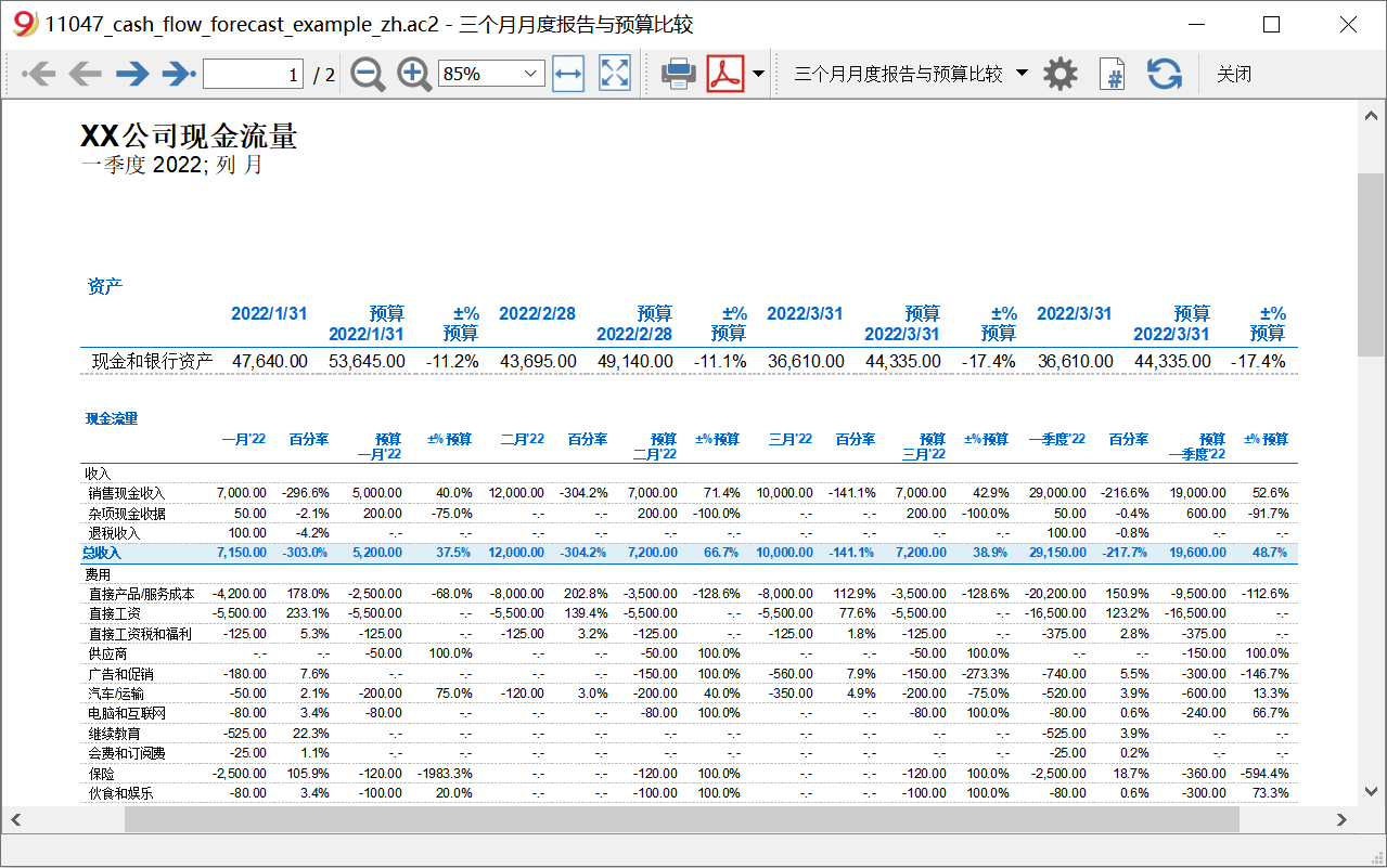 cash flow report 3months comparison image