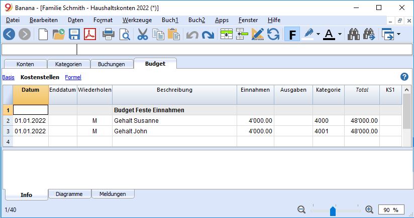 Einnahmen eingeben - Budget