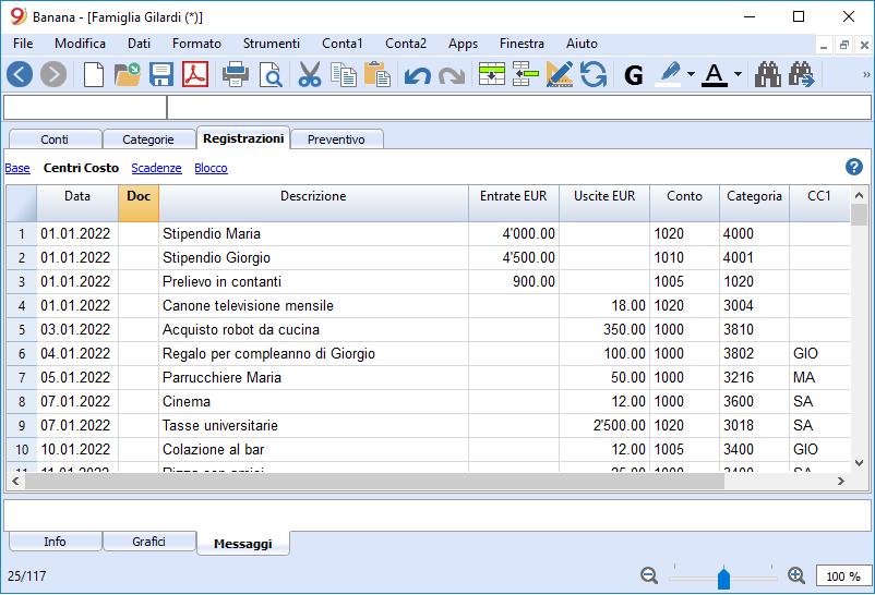 budget familiare tabella registrazioni