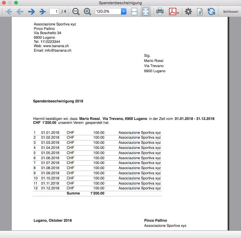 Spendenbescheinigung Fur Vereine Banana Accounting Software