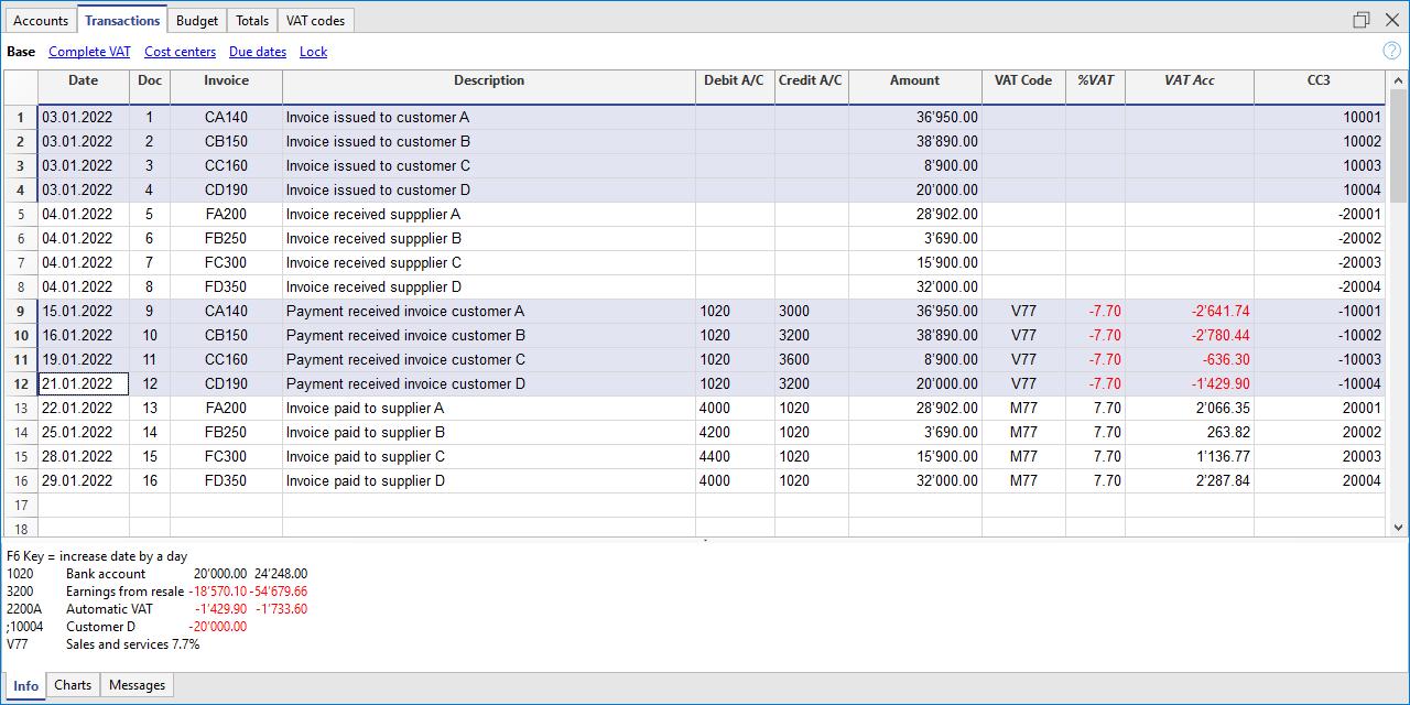 registrazione clienti sull'incassato con i centri di costo