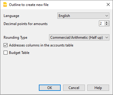Outline to create a new file in Banana Accounting+