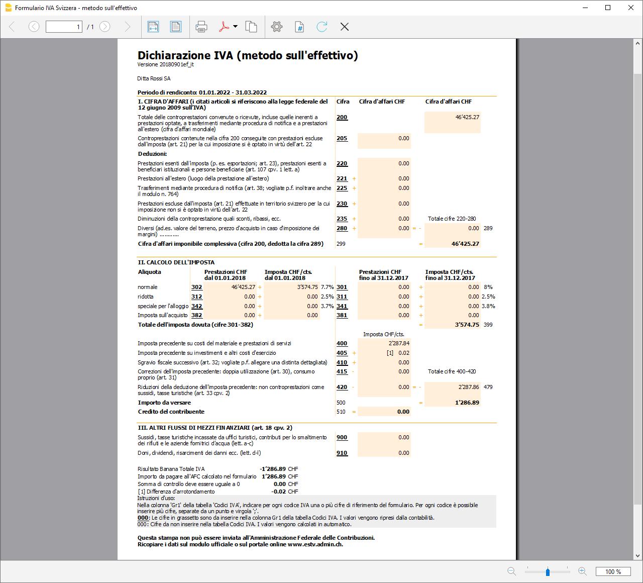 Facsimilé Formulaire IVA effectif