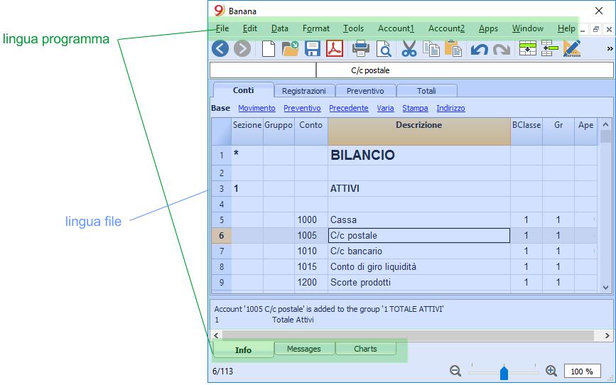 Differenza fra lingua del programma e lingua del file