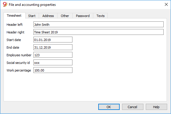 Setup your Time sheet file basic properties. File menu - File and accounting properties