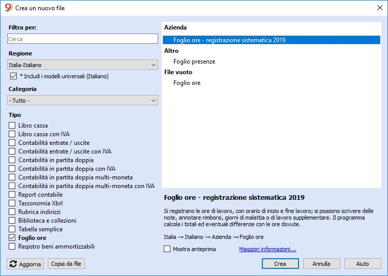Come scegliere un esempio di Foglio ore dal menu File - Nuovo