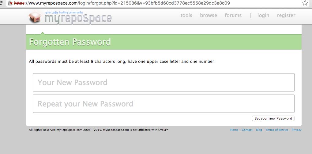 Password reset page