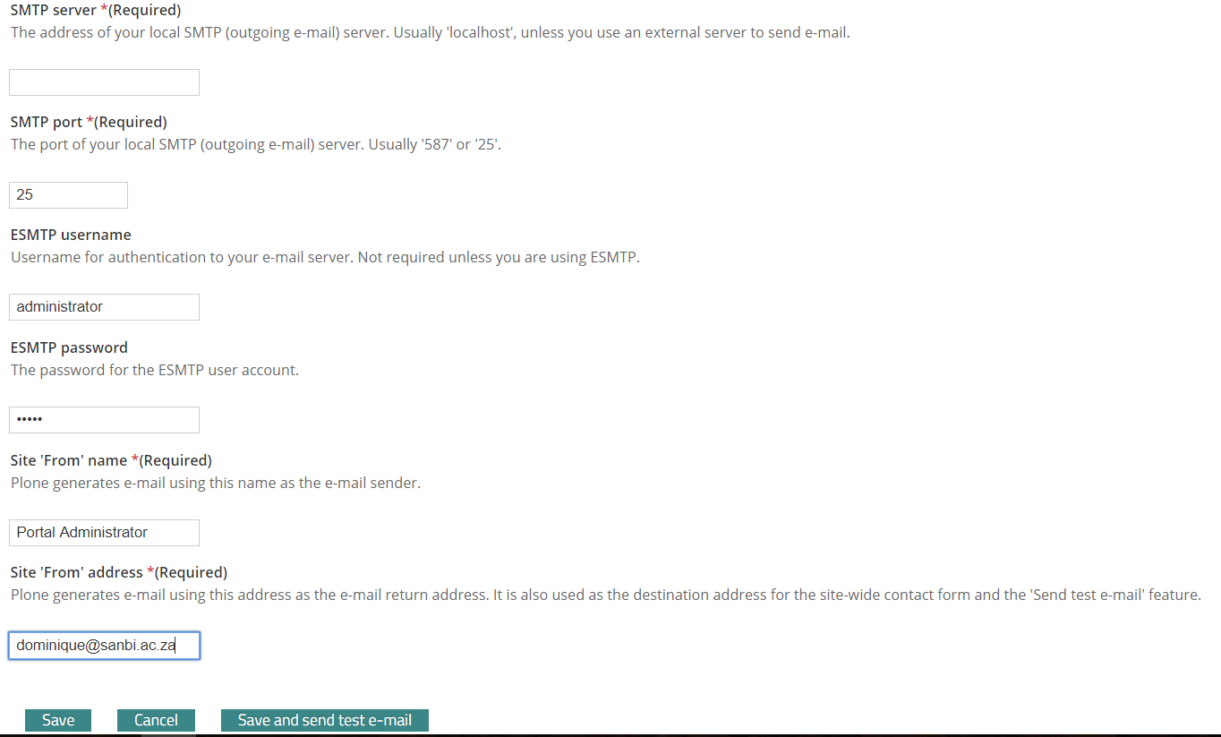 mail settings page