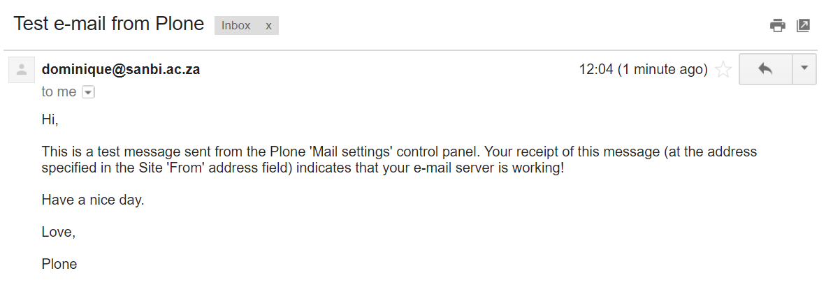 test email success