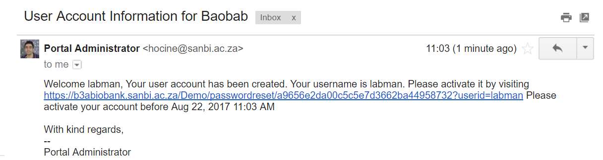 user account info