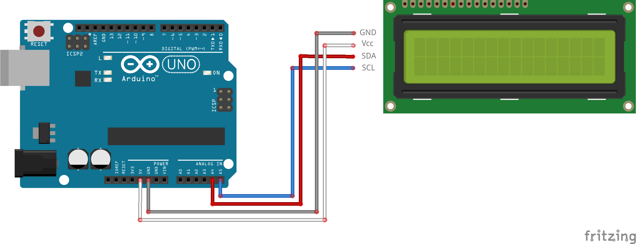 #11 Text and custom symbols on an I2C LCD display schakelschema