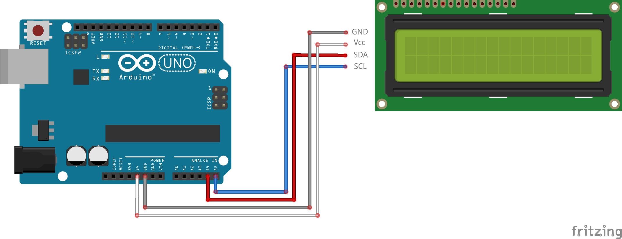 #11 · Text and custom symbols on an I2C LCD display schakelschema