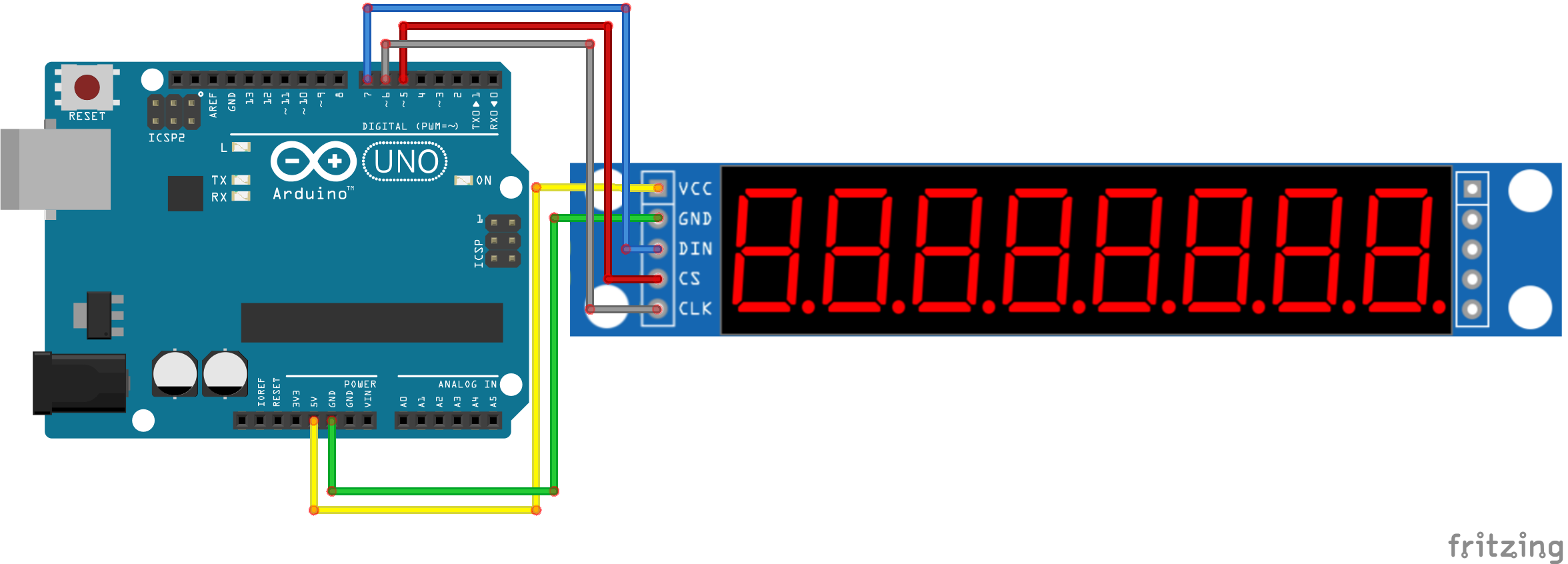 #21 · Control MAX7219 8-Digit LED Display schakelschema