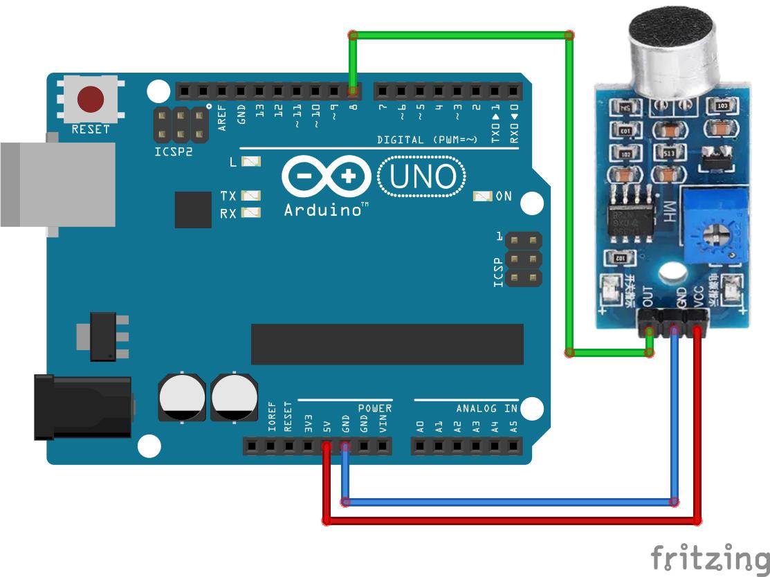#30 · Sound sensor data on Arduino IDE serial plotter schakelschema