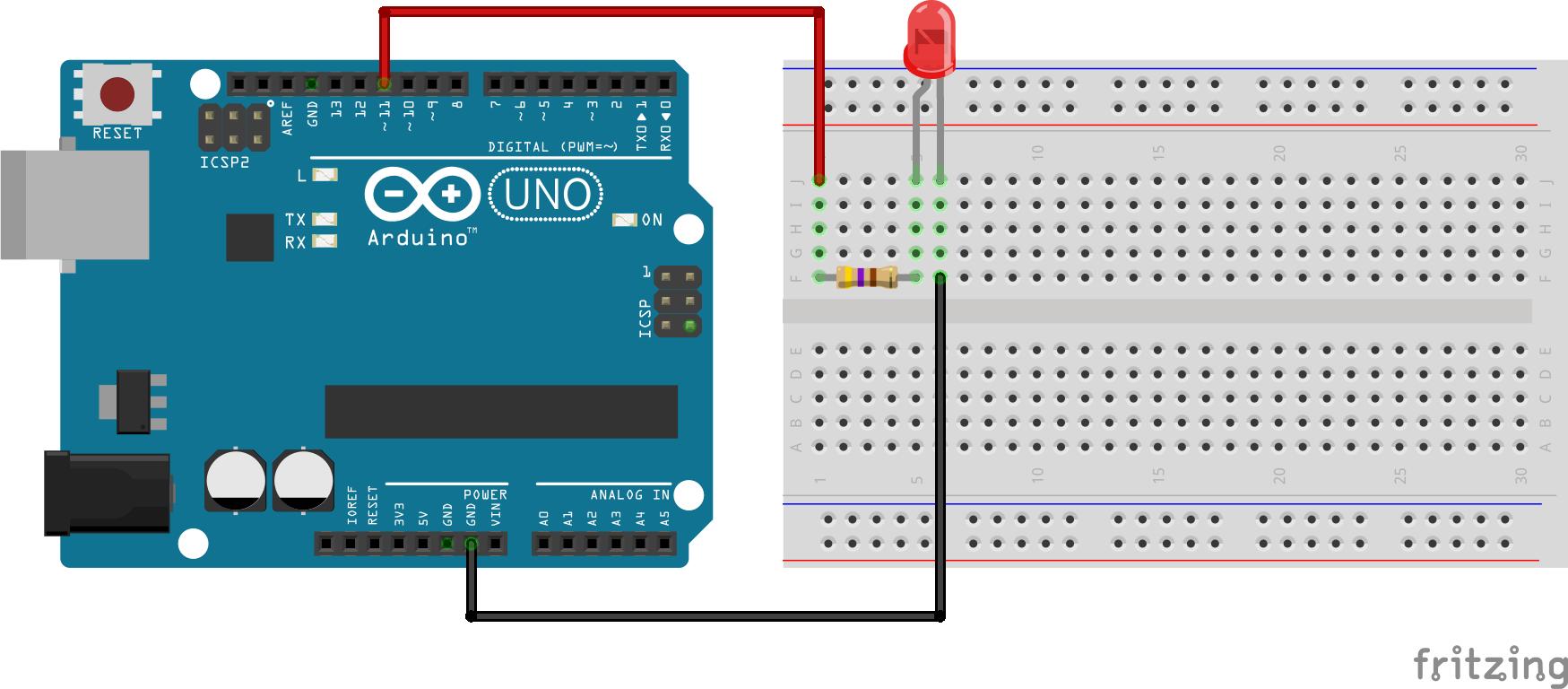 #3 Fade een LED via pulse width modulation schakelschema