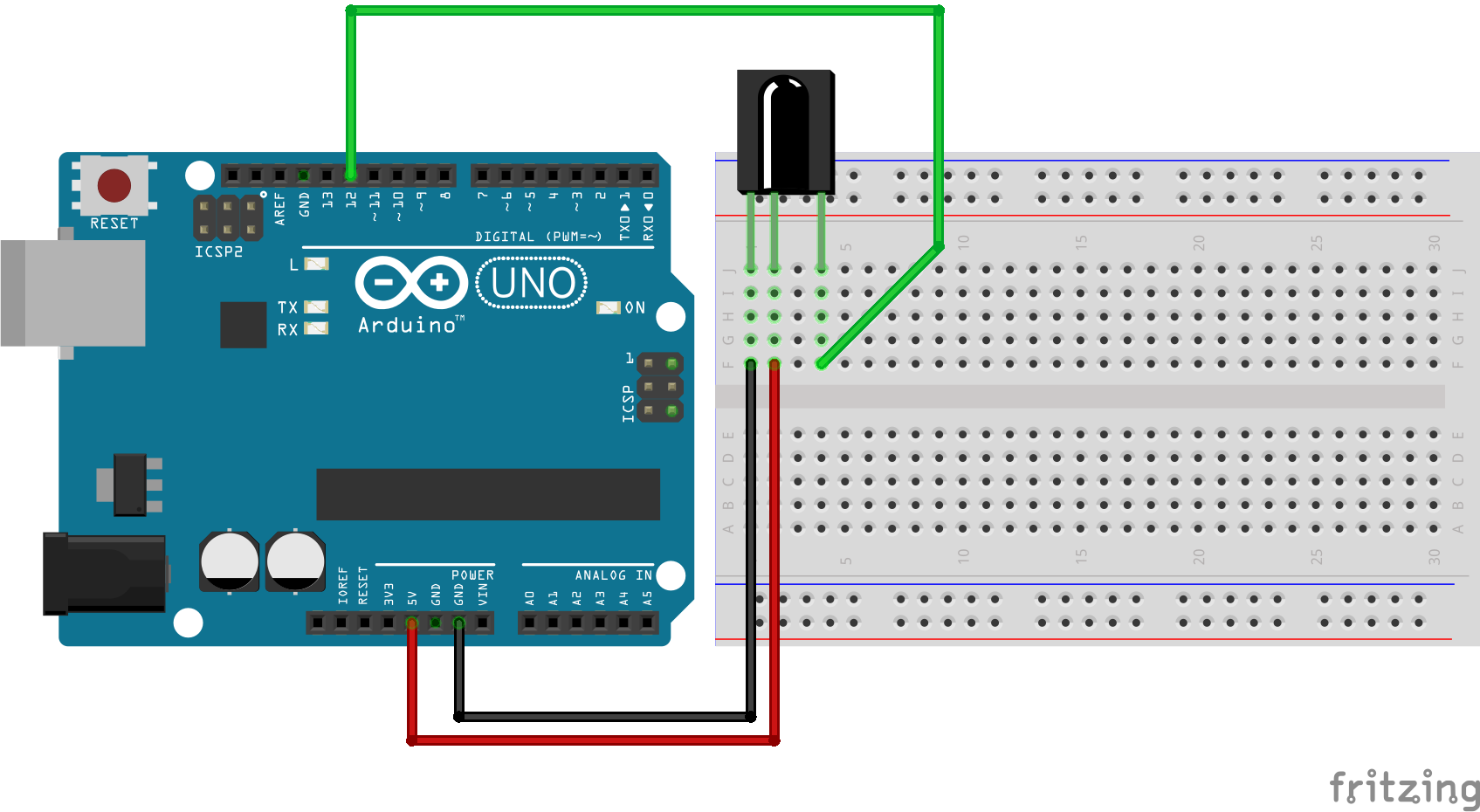 #9 Arduino aansturen met afstandbediening schakelschema