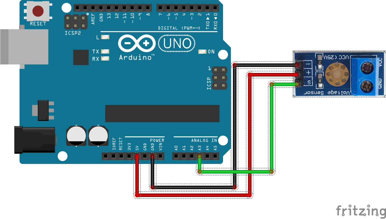 17 · Voltage sensor uitlezen met Arduino schakelschema