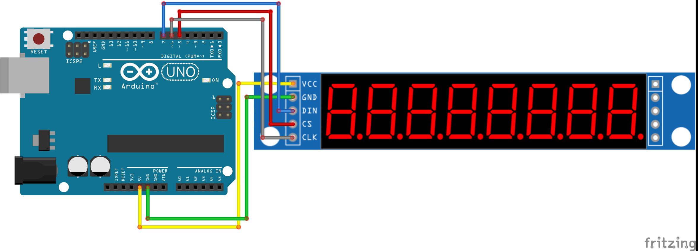 #21 MAX7219 8-Digit LED Display aansturen schakelschema